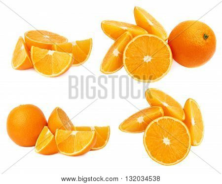 Served ripe orange fruit composition isolated over the white background, set of different foreshortenings