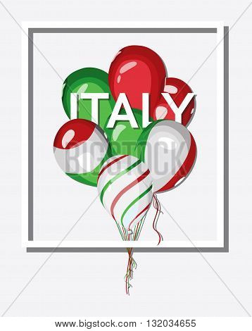 Italy. Bunch of balloons with Italian flag colors. Flag of Italy on balloon. Italy national celebration or travel. Vector square design.