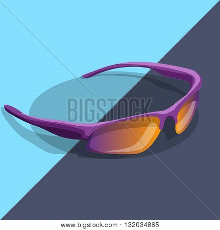 sport sunglasses cartoon glasses isometric color style