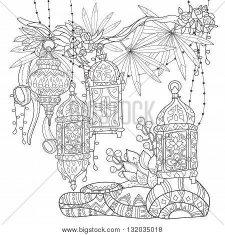Festive hanging watercolor arabic tai lamps. Greeting card or invitation, adult or children magic coloring book.