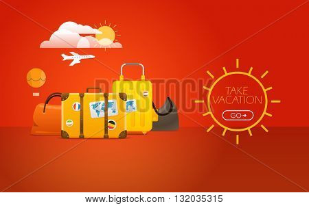 Travel bags vector illustration. Vacation concept with bags