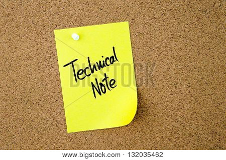 Technical Note Written On Yellow Paper Note