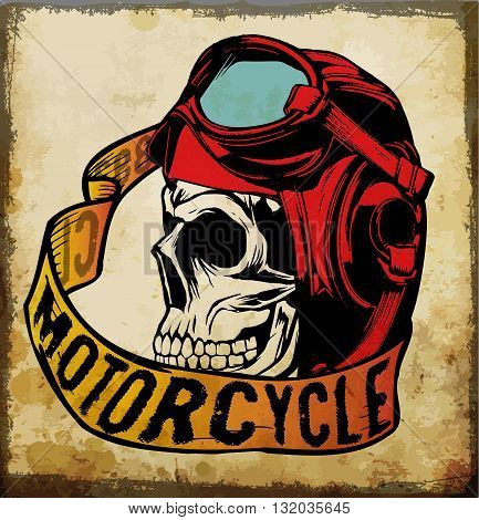 Motorcycle Skull tee graphic design fashion sports