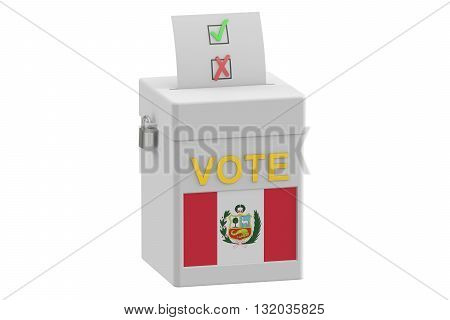 ballot box with flag of Peru 3D rendering isolated on white background