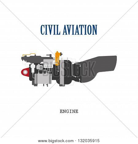 Engine of the helicopter or aircraft . Technical drawing in a flat style. Vector illustration