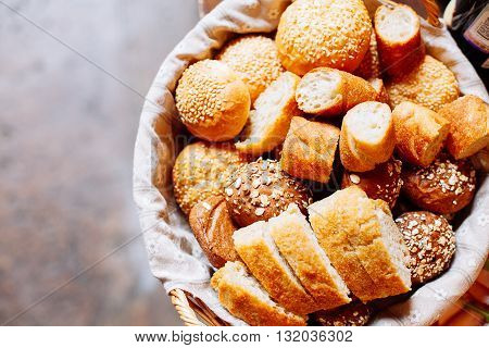 Bread In Basket On The Banquet Table