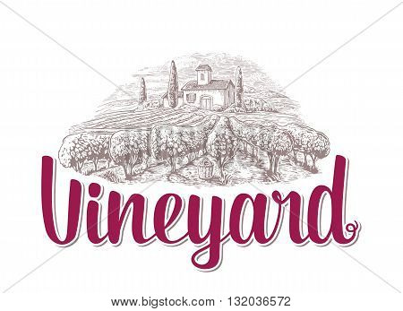 Rural landscape with villa vineyard fields and hills. Black and white drawn vintage vector illustration for label poster.