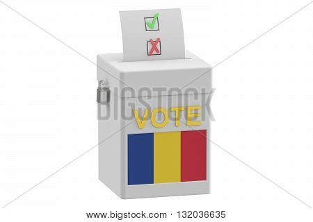 voting concept. Ballot box with flag of Romania on ballot box 3D rendering
