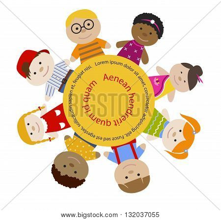 Round frame with children. Multiracial girls and boys. Cartoon flat vector illustration. Happy funny kids background. Place for text