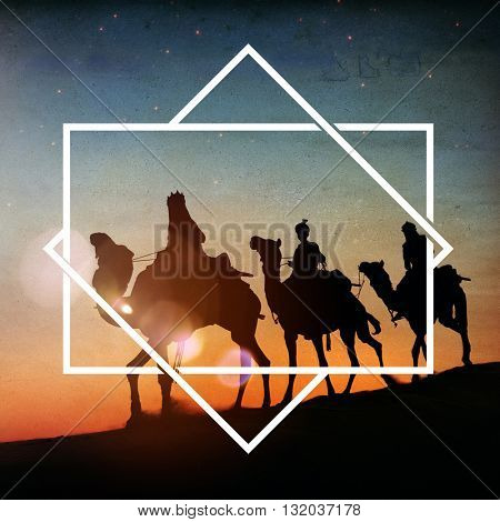 Three Kings Desert Star of Bethlehem Nativity Concept