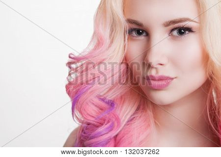 Youth women with curly colored hair. white background. Isolated. Copyspace