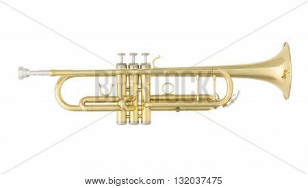 Golden Trumpet. Classical Music Wind Instrument Isolated on White Background
