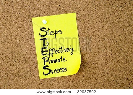 Business Acronym Steps Written On Yellow Paper Note