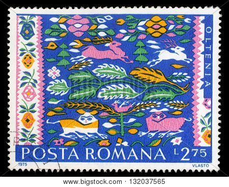ZAGREB, CROATIA - JULY 18: a stamp printed in Romania shows Romanian Peasant Rugs, Oltenia, circa 1975, on July 18, 2014, Zagreb, Croatia