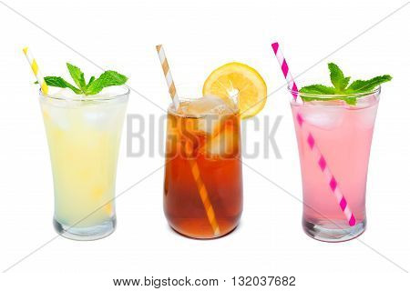 Three Glasses Of Summer Lemonade, Iced Tea, And Pink Lemonade Drinks With Straws Isolated On A White