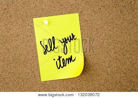 Sell Your Item Written On Yellow Paper Note