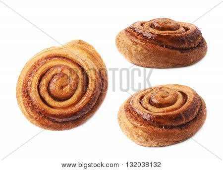 Sweet cinnamon bun roll swirl isolated over the white background, set of three different foreshortenings