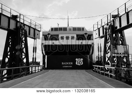 Ludington, Michigan, USA - October 19, 2013: Stern of the SS Badger auto ferry at it's home port of Ludington, Michigan. The SS Badger was launched in 1952.