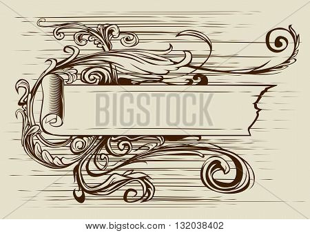 Vintage banner with ribbon and floral pattern