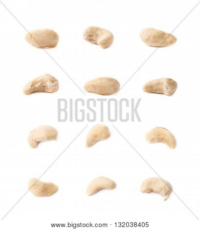 Multiple single cashew nuts seeds isolated over the white background, set of six images, each in two foreshortenings