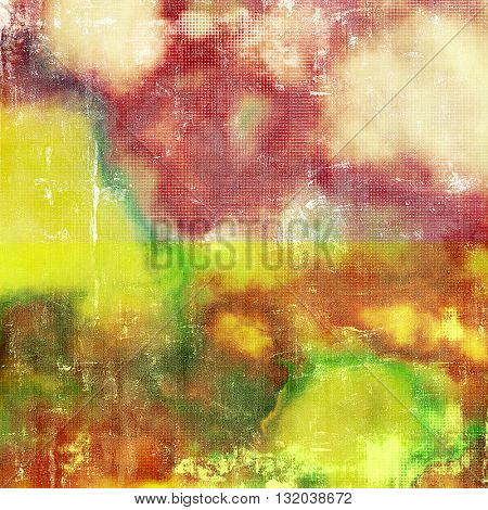 Abstract vintage background with grunge effects, ragged elements, and different color patterns: yellow (beige); brown; green; red (orange); purple (violet); pink