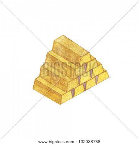 Watercolor gold bullion. Isolated illustration on white background