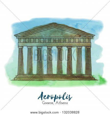 Acropolis. Landmark. Landmark Europe. Landmark capital. Landmark vector. Landmark eps. Landmark watercolor. Landmark icon. Landmark ui. Landmark art. Landmark print. Landmark picture. Landmark illustration.