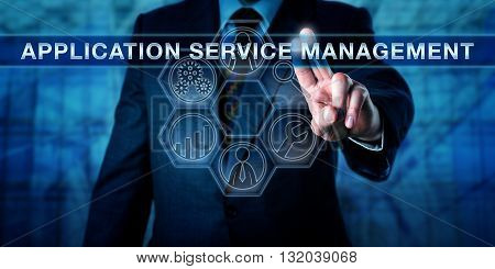 End-user is touching APPLICATION SERVICE MANAGEMENT on a virtual control display. Business performance management metaphor and information technology concept. Icon tools for detection and process.