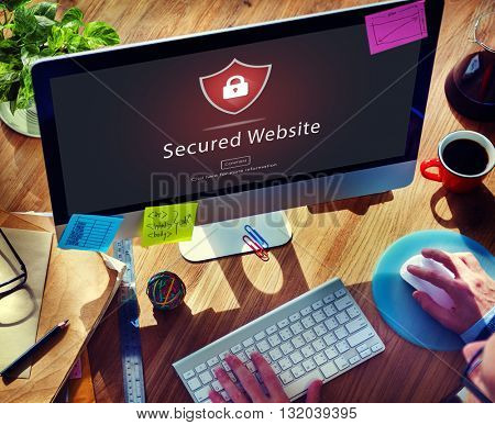Warning Security Alert Warning Secured Website Concept