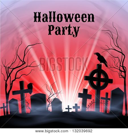 Spooky graveyard on the Halloween Night Halloween Party poster in black red and white