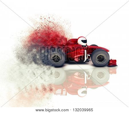 3D render of a generic racing car with speed effect