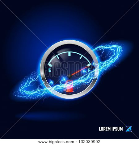 Fuel indicator surrounded by a stream of blue energy in the space