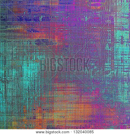 Grunge texture or background with retro design elements and different color patterns: yellow (beige); blue; red (orange); purple (violet); cyan; pink
