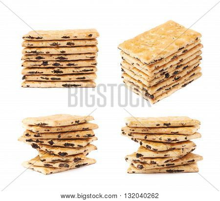 Cracker raisin cookies stack composition isolated over the white background, set of four different foreshortenings