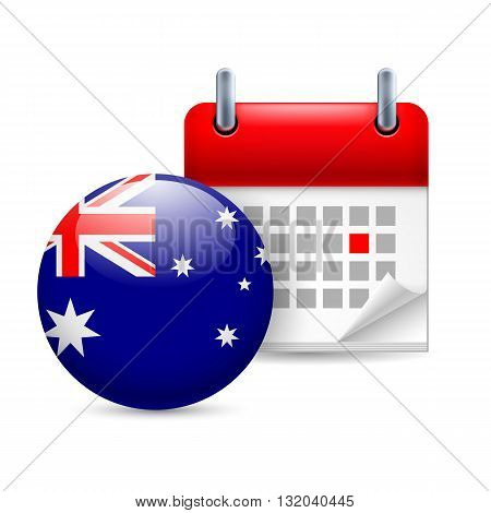 Calendar and round Australian flag icon. National holiday in Australia