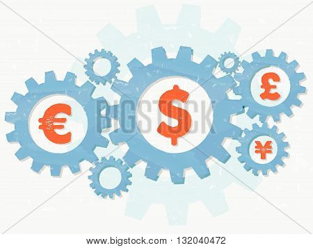 euro, dollar, pound and yen signs - business finance and monetary units concept - red symbols in blue grunge flat design gear wheels, vector