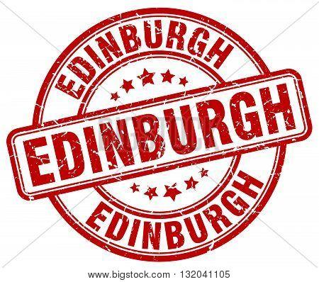 Edinburgh red grunge round vintage rubber stamp.Edinburgh stamp.Edinburgh round stamp.Edinburgh grunge stamp.Edinburgh.Edinburgh vintage stamp.