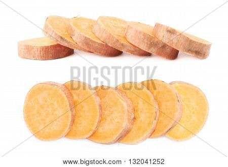 Multiple slice sections of the sweet potato or Ipomoea batatas aligned in a line, composition isolated over the white background, set of two different foreshortenings