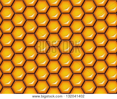 Vector illustration. Seamless honeycomb background pattern. Shiny hexagonal cells. Honey comb pattern is suitable for packaging design wrapping paper textile web background and other.