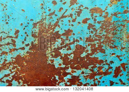rusty blue metal sheet grunge texture pattern