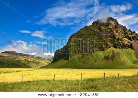 Typical landscape for the summer in Iceland. Bright green and yellow farm fields at the foot of steep mountains.