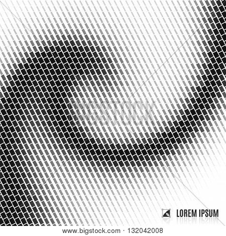abstract white and black blurred curve decorative background with halftone spiral stream swirl and vortex