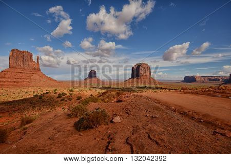 View of the vast Monument Valley buttes in the Southwest United States