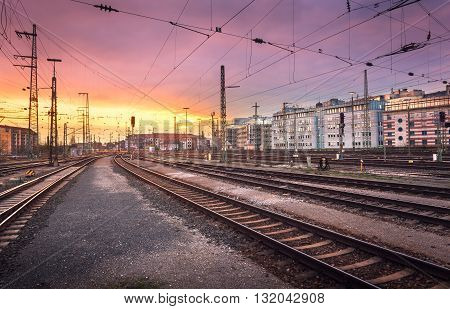 Industrial Landscape. Railway Station In Nuremberg, Germany. Railroad At Sunset