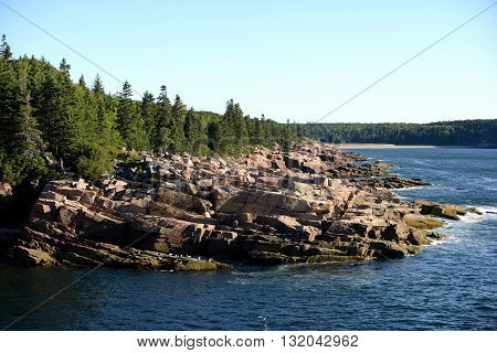 Beautiful summer image of Acadia National Park in Maine with rocks river and mountains