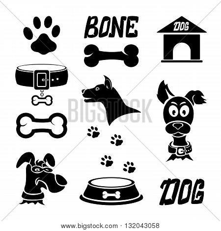 Black dog icons isolated on white background, set of icons on a dog theme, illustration.