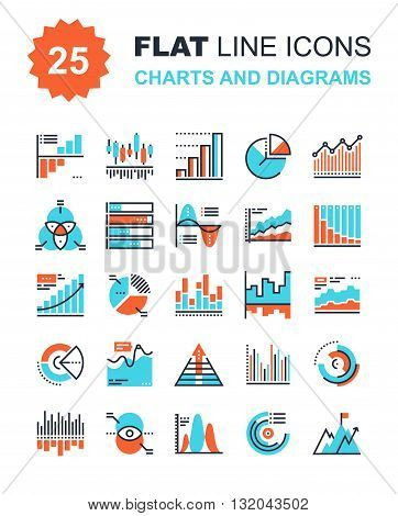 Abstract vector collection of flat line charts and diagrams icons. Elements for mobile and web applications.