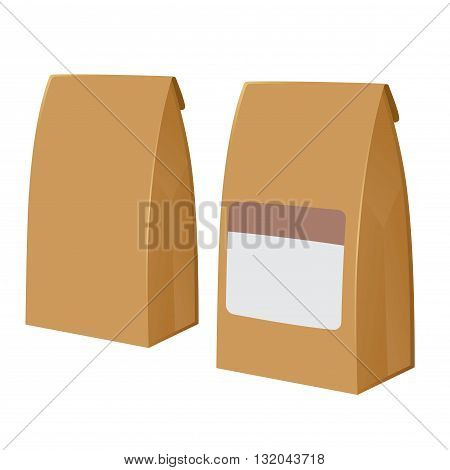 Vector stock of two brown recyclable blank paper bags