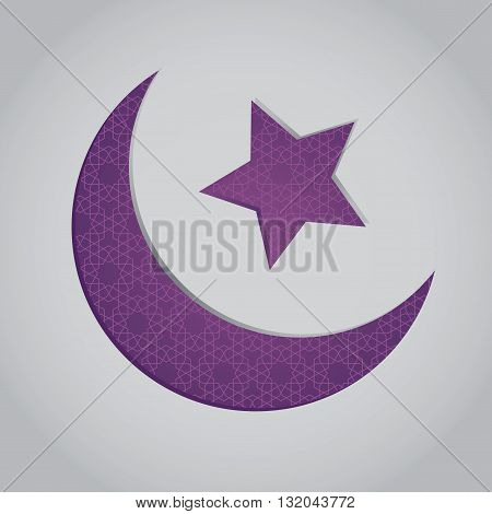 Vector stock of crescent moon and star shaped islamic symbol with patterns