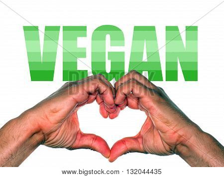 Hands making heart for vegan or veganism lifestyle choice
